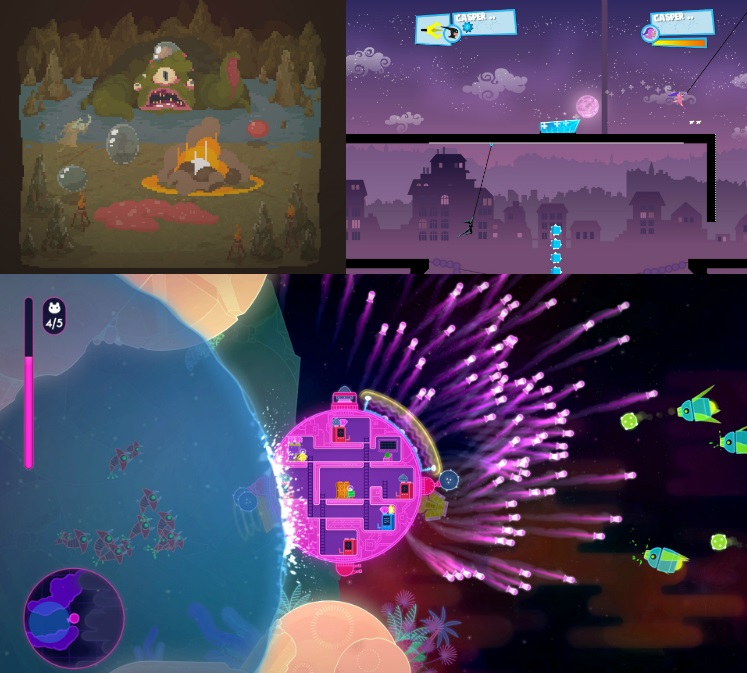 Clockwise from top left: Crawl, Speedrunners and Lovers in a Dangerous Spacetime. All images courtesy their respective Steam game pages.