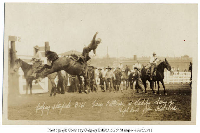 1930 - Casey Patterson of Gadsby doing a high dive from Flat Tire, Calgary Stampede