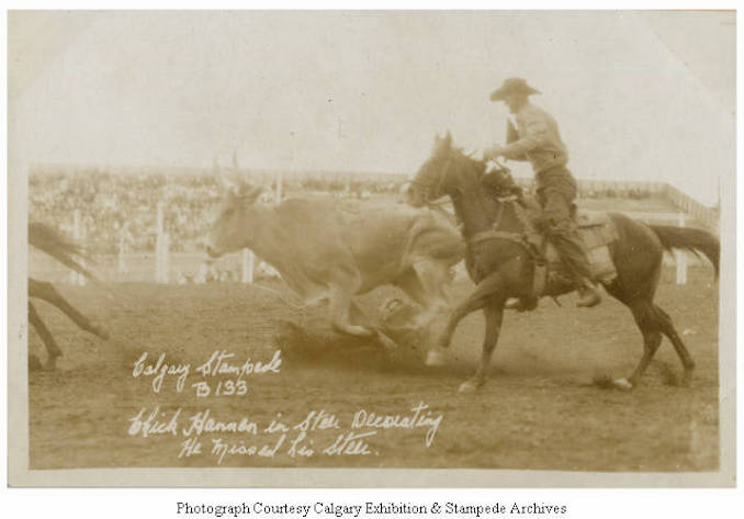 1930 - Chick Hannen in steer decorating, he missed his steer, Calgary Stampede