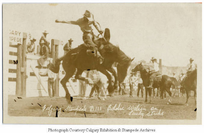 1930 - Eddie Watrin on Lucky Strike, Calgary Stampede