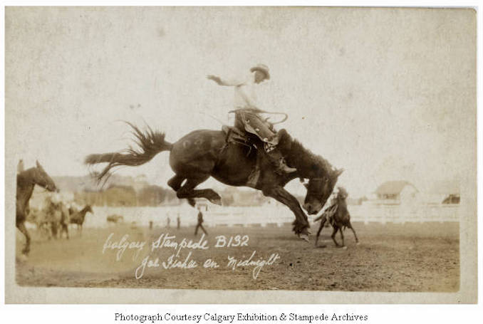 1930 - Joe Fisher on Midnight, Calgary Stampede
