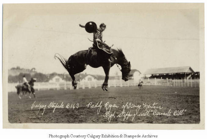 1930 - Paddy Ryan of Ismay, Montana, high stepping with Barnacle Bill, Calgary Stampede