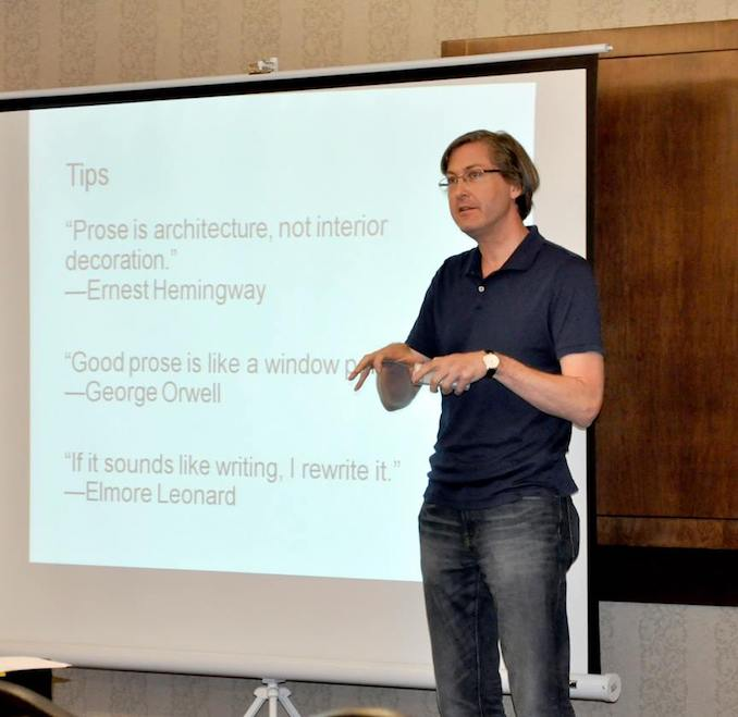 Giving a talk about story structure to local writers at the annual When Words Collide conference