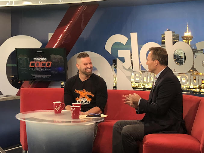 On Global, BC visiting my friend Jay Janower promoting Making Coco