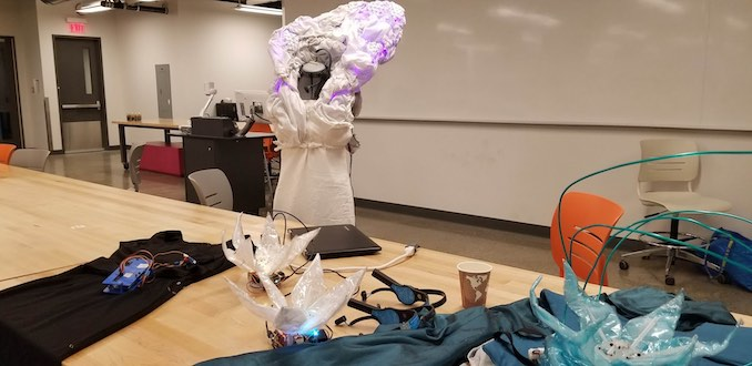 Kathryn Blair - Sept 9, 2018 - Setting up for a wearable tech demo at a University of Calgary Alumni Weekend event. Got to talk to a bunch of young people about making wacky things, and I also snagged some waffles.