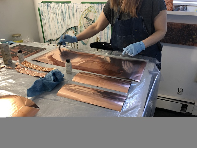 Kerry Warner - working on new copper pieces