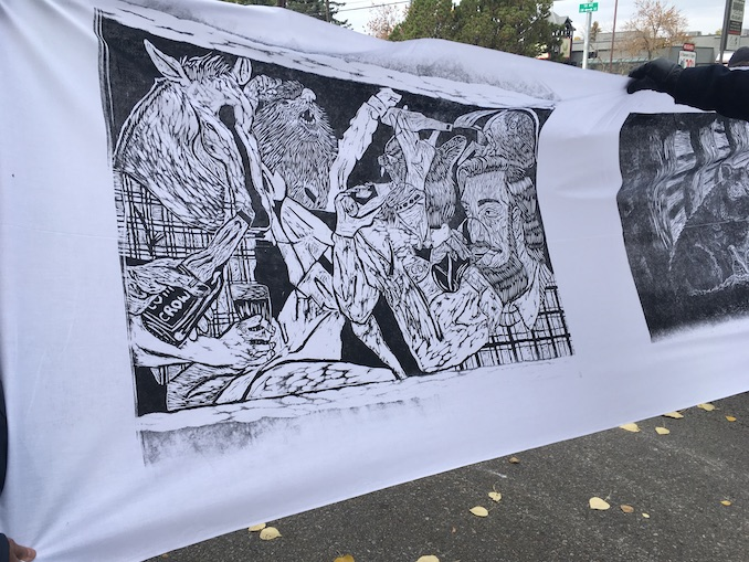 Shot of my relief print during the Steamroller event last September with Alberta Printmakers. http://www.albertaprintmakers.com/single-post/2015/10/03/Some-photos-from-PIY-and-Steamroller