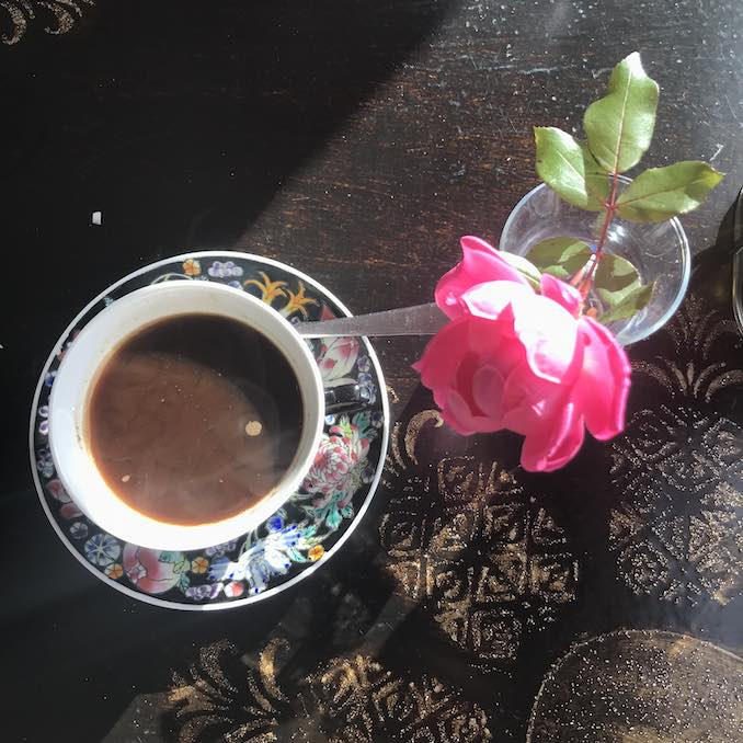 My day literally never begins before coffee. On a good day, it looks like this Turkish coffee, served with a rose at Olive Branch Mediterranean Restaurant in Greenport, Long Island.