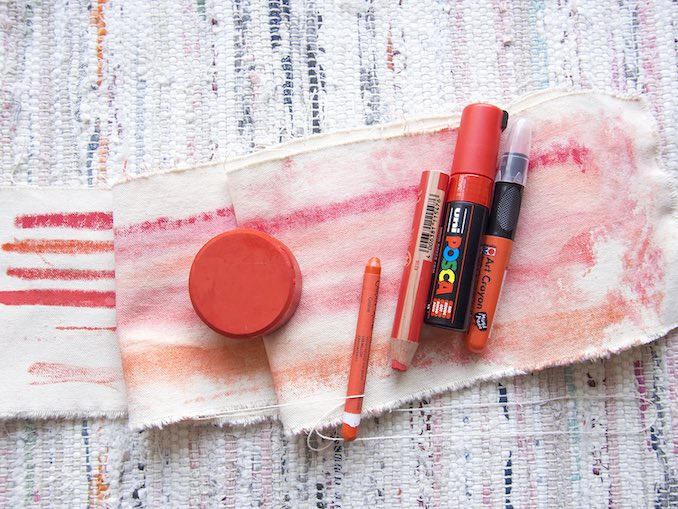 Experimentation - Testing new art supplies is always exciting. Here I've gathered several red pigments to see which work best for drawing on a damp canvas.