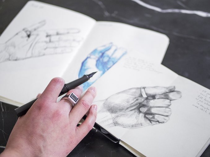 Gillian McCarron - Self portrait - Hand studies are a staple subject in my practice. I sketch my hands when warming up or trying out new media. I also like the record of change over time, both in my skill and appearance.