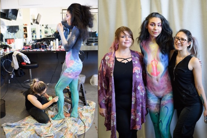 Behind the scenes of my body painting final, next to a photo of me standing with my model and my mentor. Location: One Beauty Academy. Credits: Hair, Makeup & Body Art by Jessica Mercury; Photography by Rick Hand; Model: Angie Boyle; Mentor: Angie Spa Makeup