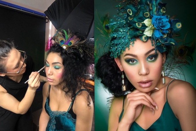 Behind the scenes of a peacock editorial shoot, and a sample of the finished product. Location: Emelia Kim Creative Studio. Credits: Hair & Makeup Art by Jessica Mercury; Photography by Emelia Kim Creative; Makeup Assistant: Laura Claudine Mailhot; Headpiece by Belles Bonnet Bridal; Model: Angie Boyle
