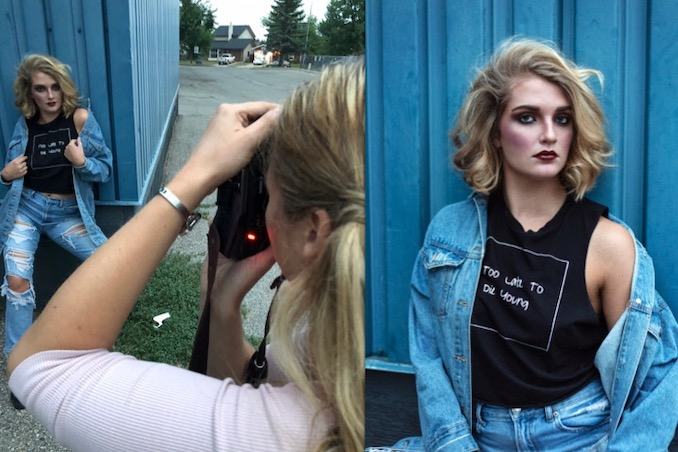 Behind the scenes of a portfolio development grunge shoot, next to a sample of the finished product. Credits: Hair & Makeup Art by Jessica Mercury; Photography by Toi et Moi Photography; Model: Elly Mae Watt