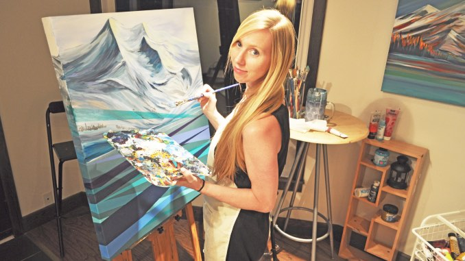 Celeste Christie - Celeste Christie - Me in my studio, painting mountains