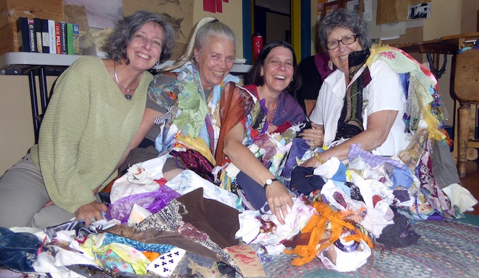 Surrounded in cloth dreams of the Dream Scroll with my Gestare Art Collective sisters, (R-L) me with Cindy Lou Griffith, Nané Jordan and Medwyn McConachy