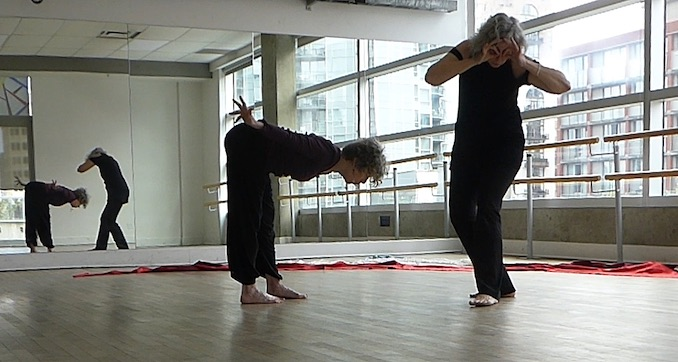 Rehearsal at the Vancouver Dance Studio with collaborator Tannis Hugill – connecting with our ancestral lineages