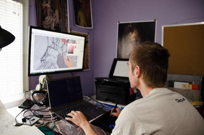 I do most of my work digitally. Here, I'm drawing an animation storyboard in Photoshop.