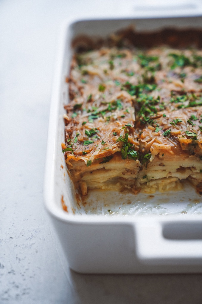 Vegan Potatoes au Gratin Recipe by Calgary's Maria Koutsogiannis