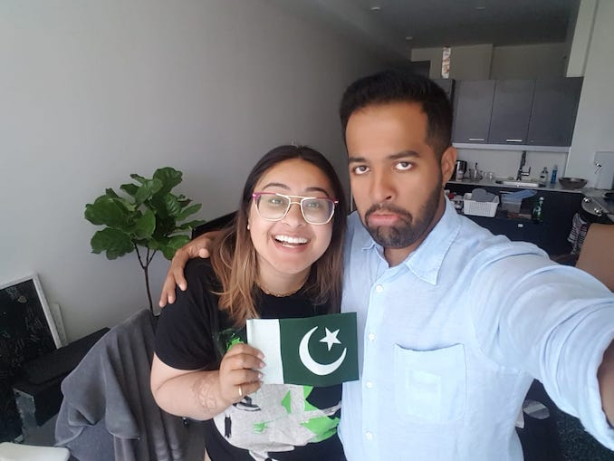 Rabiya Mansoor - I'm happy and my Indian husband is pretending to be sad as we celebrate Pakistan Independence Day.