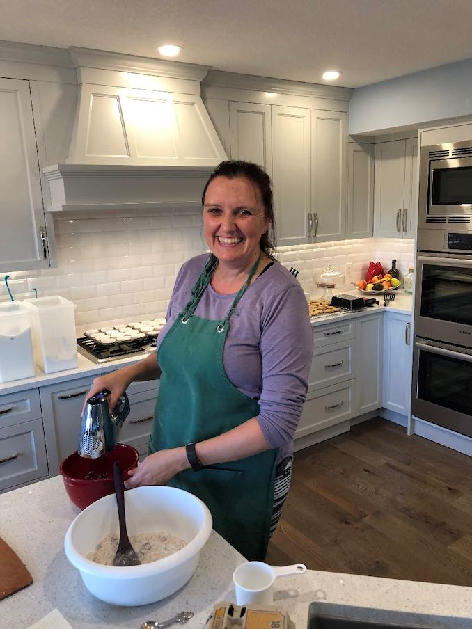 Heather Kinahan - I love to bake. Here I am whipping up some goodies for the week ahead, while trying to make sure my family doesn't eat them before I get them stored away. They are all sneaky cookie thieves!!