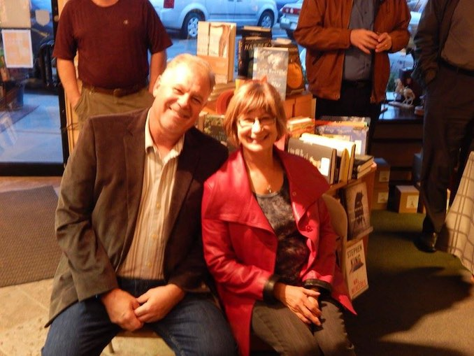 Dwayne and Valerie at our favourite bookstore, Owls Nest Books, Calgary