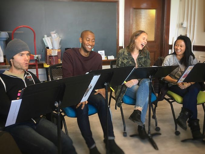 Naughty but Nice Cast having too much fun in rehearsal (singing Lait du Poule)!