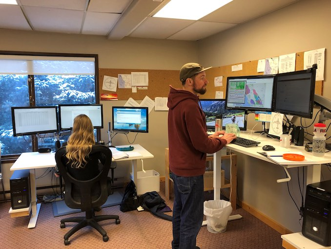 Grant Helgeson produces avalanche forecasts at Avalanche Canada's office in Revelstoke, BC.