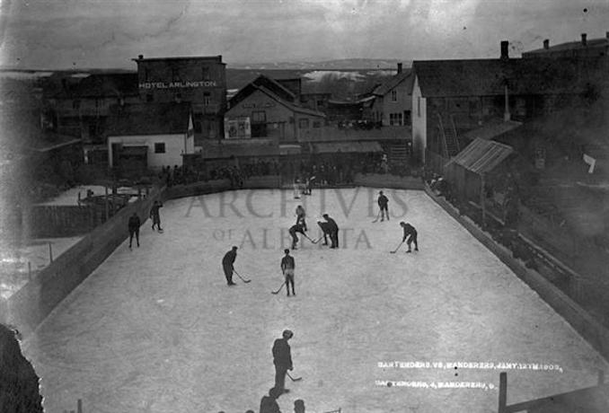 1906 - A11692 - View of an outdoor game, Bartender's vs. Wanderers, in Pincher Creek