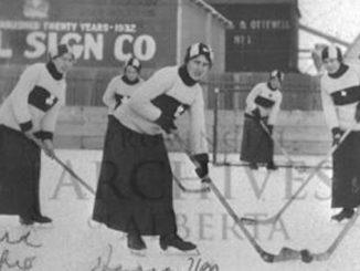 1916-A2972-Team-photograph-of-womens-hockey-team-at-Diamond-Park-in-Edmonton-Alberta