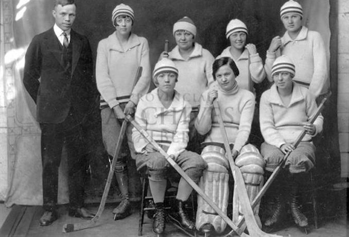 1921 - A4647 - women's team in Olds, Alberta. L - R - back - Coach?, Aileen Duff, Maybert Hall, Violet Gilbertson, Alice Bentz Sitting - Isabell Whitelock, Lily Campbell, Gladys Frost