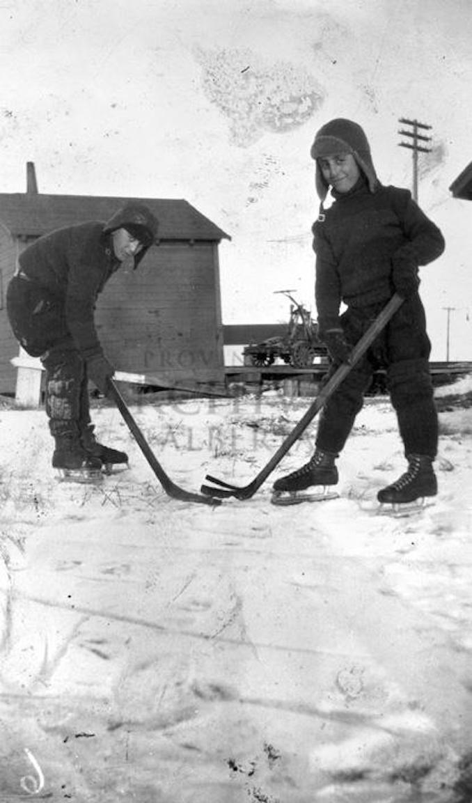 1930 - A10877 - Frank and Gos Scrivano playing in Edmonton