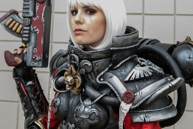 Stephanie Ford, dressed as Adepta Sorrita, Sister of Battle from War Hammer 40K performs cosplay at Calgary Expo on April 30, 2017. Part of a forthcoming photobook about cosplayers. © J. Ashley Nixon