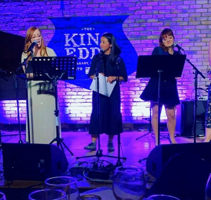 Caitlynne Medrek, Allison Lynch and Selina Wong singing for Theatre Calgary at the historic King Eddy