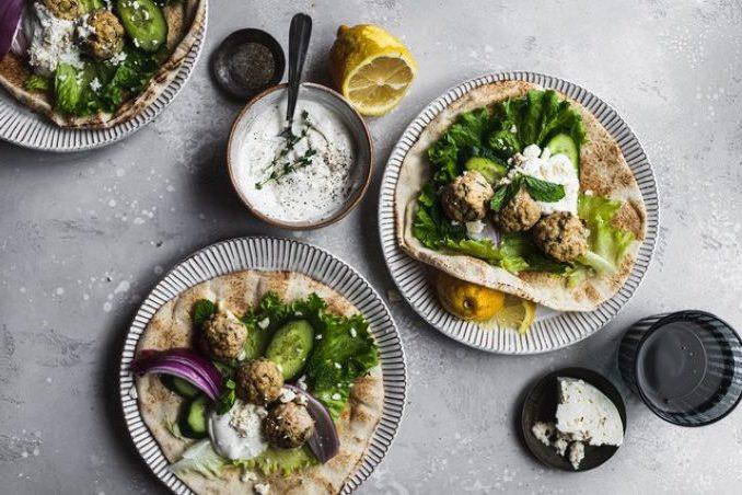 Greek Turkey Meatball Gyros