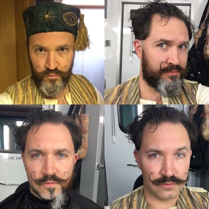 Hair and costume collage for his speaking role on Damnation (on Netflix) as a carny ride operator who helps the shows lead character.