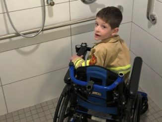 5yr old Jaydon in his new bathroom ARK