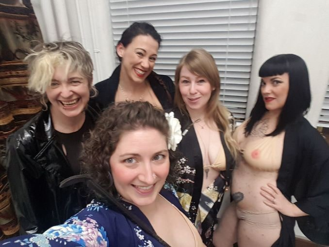 This is a picture of my Naked Girls Reading entourage led by Keely Kamikaze (they're not really naked, btw, they're wearing tata tops for the picture) when I was asked to perform at an Alexandra Writers' Centre's reception to welcome its new writer in residence.
