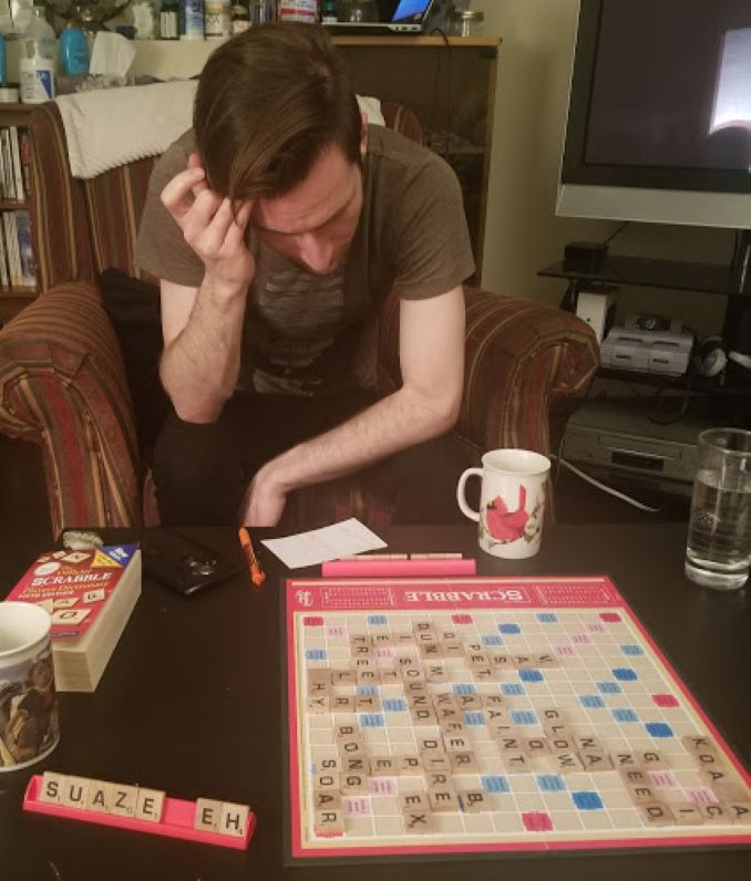A challenging game of Scrabble.