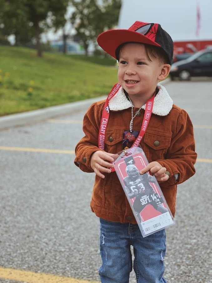 Chantel's son Beau Carl Rollison (4, 2020) getting ready for his first Stampeder's game!-min