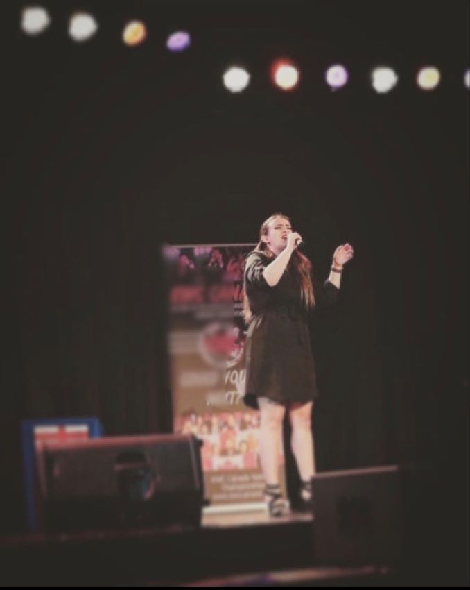 Chantel Competing at Karaoke Championships where she placed 13th in all of Canada.