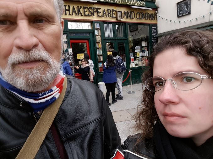 The author and her partner Anthony at Shakespeare & Co. bookstore in Paris, 2018. (photo by the author)