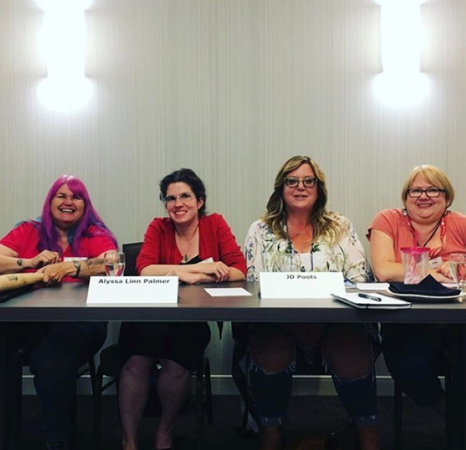 The author as a part of a panel on Kink, BDSM, Consent & Feminism at When Words Collide conference in 2018. (photo by M Jane Colette)