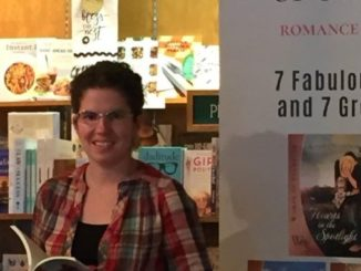 The author at Owl's Nest Books for the release party for the Women of Stampede series in July 2018. (photo by Adelle Palmer)