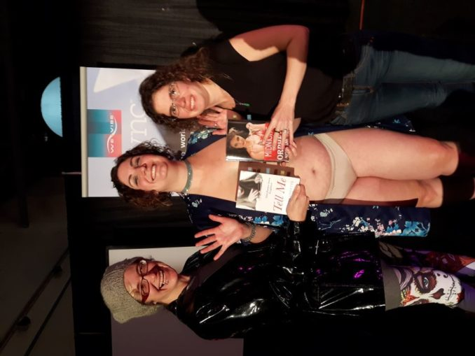 With M Jane Colette and Naked Girls Reading (now Bare Book Club YYC) organizer Keely Kamikaze at a reading of Midnight at the Orpheus in 2017. (photo by Anthony Bennett)