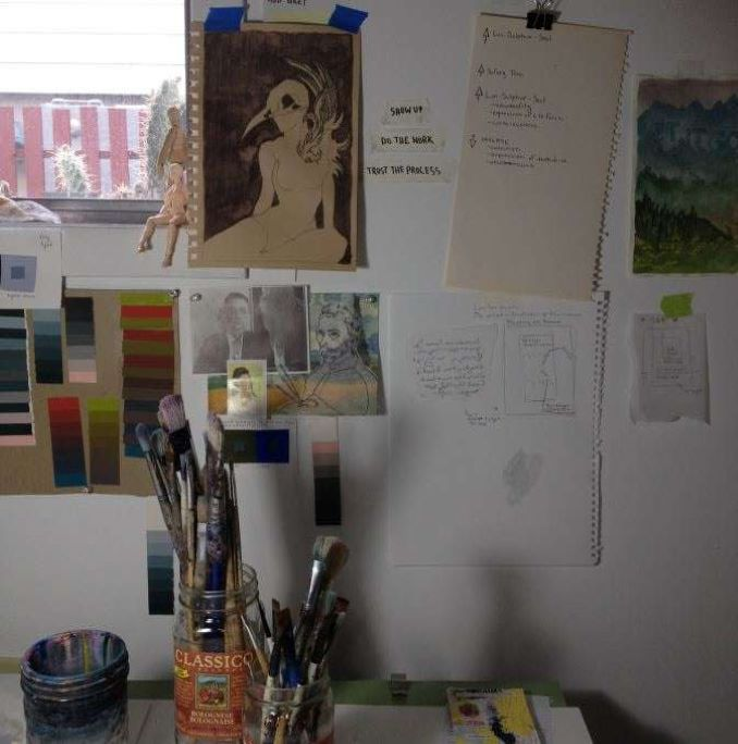 When I sit down to work images of courageous artists sit with me and the truest words I can think of, 'Show up / Do the work / Trust the process'. It reminds me that it's okay to be riddled with self doubt, anxiety or numbness. I can study and organize and do the best I can, but I'm not really in control. My job is to surrender to the will of the muse.