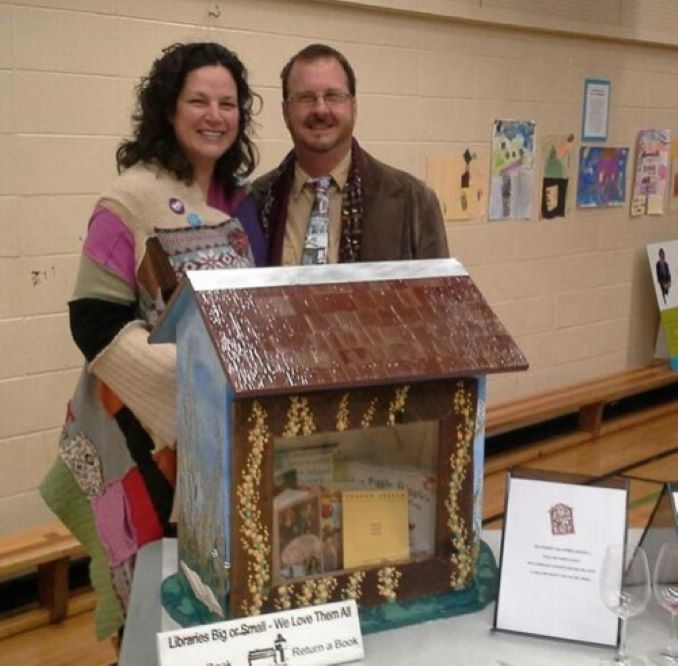 Karen Here I am with Little Free Libraries founder, Todd Boll at an event when Calgary Reads became the Canadian hub for Little Free Libraries.