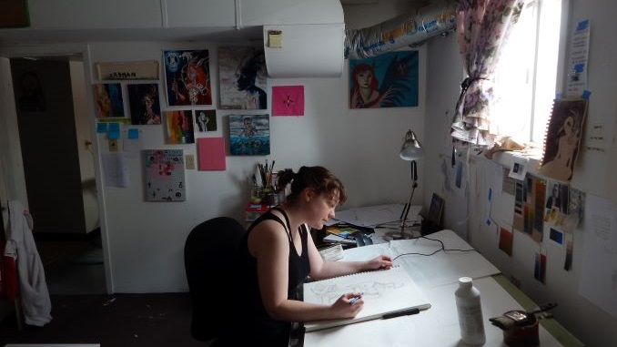 My studio is a cold, weird-smelling room in the basement of our house. The walls are decorated with pieces of special inspiration that show the spirit and direction of my work.