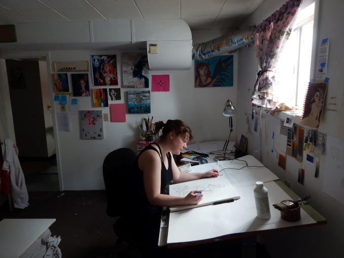 Laura Erdman My studio is a cold, weird-smelling room in the basement of our house. The walls are decorated with pieces of special inspiration that show the spirit and direction of my work.