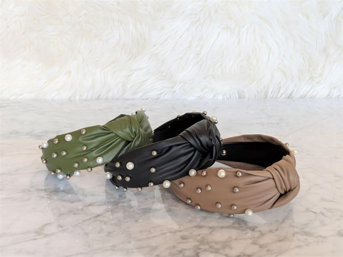 The Aimee headband - handmade faux leather headband with simulated pearls and metal beading. Available in Black, Nude and Olive from jaiho accessories