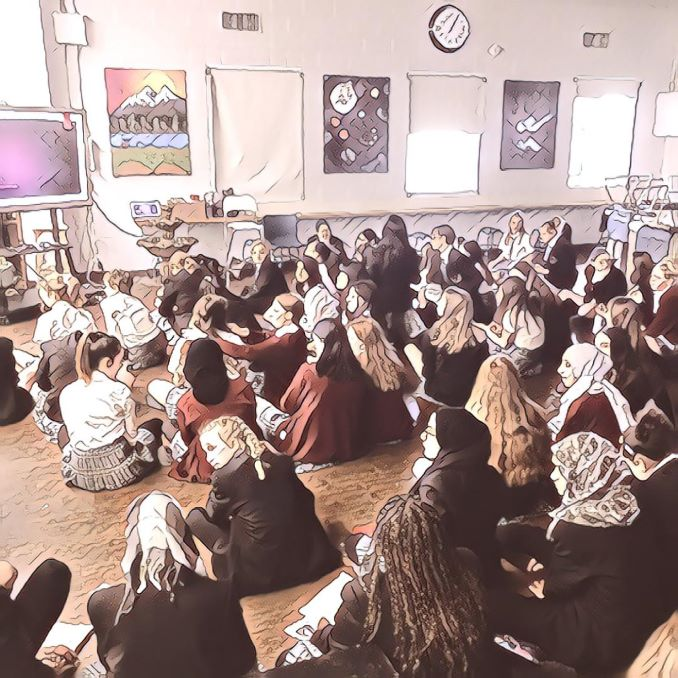 Students at Calgary Girls' School in Lakeview eagerly await Suzy Vadori's keynote speech in the school library during their Literacy Week in December, 2019. Suzy tours across Alberta schools talking about the importance of literacy and how useful it is for life beyond the classroom.
